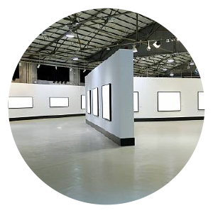 A white gallery space (Actual exhibition space is online)